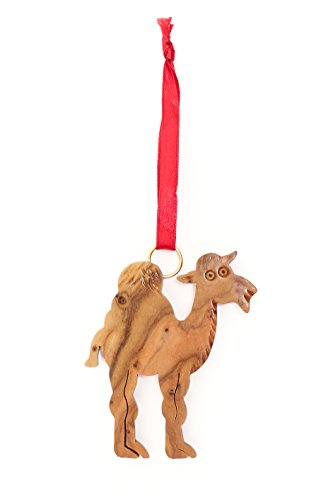 From The Earth - Olive Wood Standing Camel Christmas Ornament - Fair Trade & Handmade