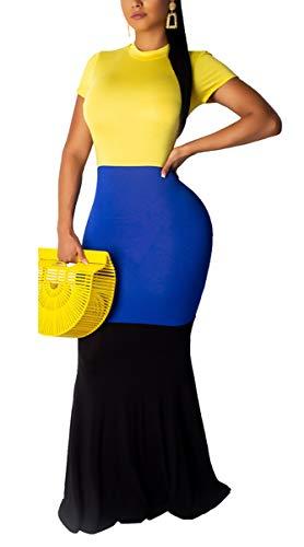 Aro Lora Women's Casual Short Sleeve Color Block Bodycon Long Maxi Mermaid Party Dress X-Large -