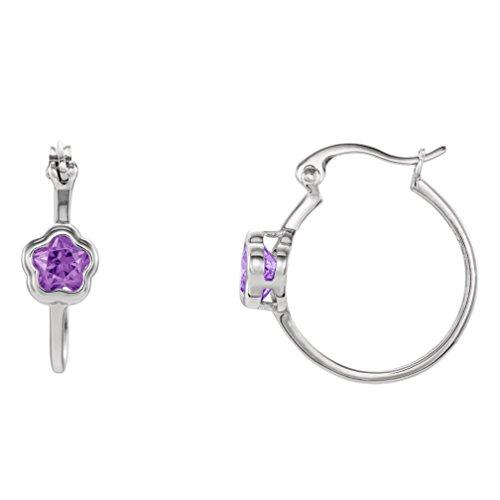 Girl's BFlower Purple CZ Hoop Earrings, Sterling Silver by The Men's Jewelry Store (for KIDS)