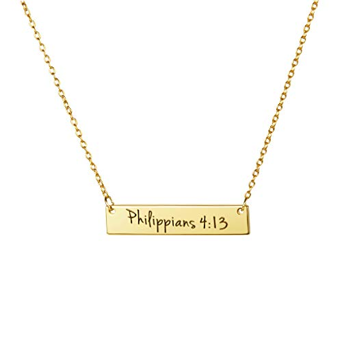 - MEMGIFT 18K Gold Plated Necklace Inspirational Bible Verse Engraved Christmas Jewelry Gifts Idea for Women