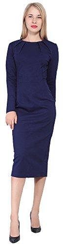 Marycrafts Women's Work Office Business Long Sleeve Pencil Midi Dress 0 Midnight Blue]()