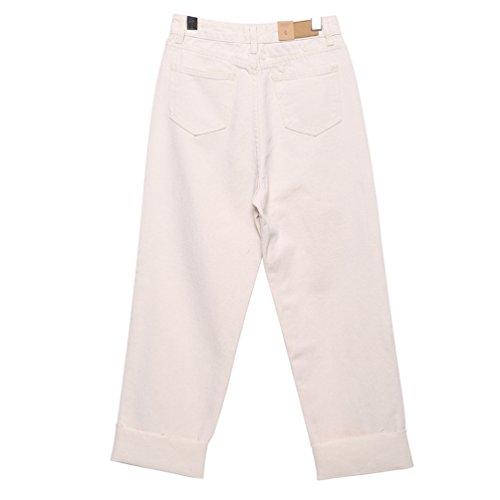 Rotos Jeans Lihaer Pantalones De Alta Jeans Beige Pantalon Mujeres De Mujer Gran Vaqueros De Retro Tamaño De Cintura Denim Las F4zq8wF