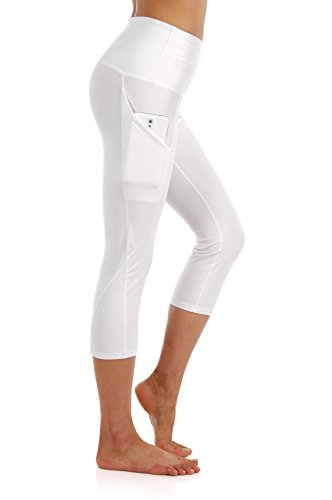 ZEROGSC Women's Yoga Pants - Workout Running Tummy Control Stretch Power Flex Long/Capris Leggings With Out Pockets (YPW112-White-Small)