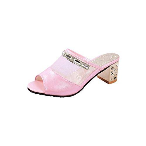 Talon Hauts Glissière la Femme Toe Slip Talons Haut sur Sandal de Open Maille Sandales à Les Plate en Forme Slipper Rose rqWz0nExSz
