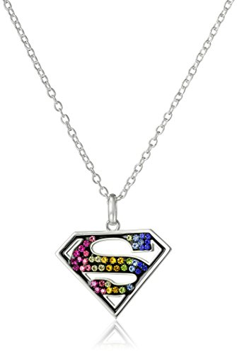DC Comics Silver-Plated Superman Crystal Pendant Necklace, 18''