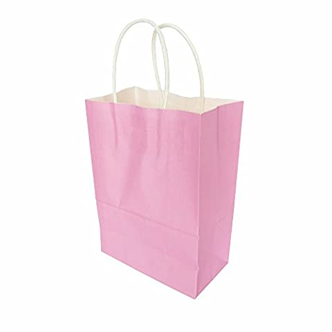 AZOWA Gift Bags Pink Kraft Paper Bags With Handles Party Supplies Set OF 25 - Pink Kids Bag