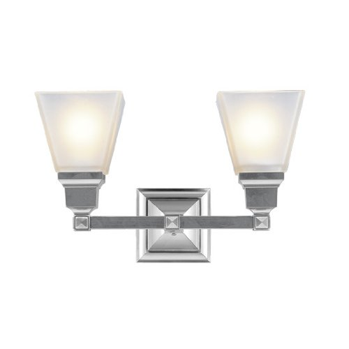 Livex Lighting  1032-91 Mission 2 Light Vanity Brushed Nickel with Frosted Glass by Livex Lighting