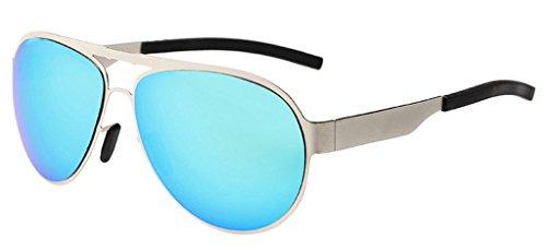 Eyekepper Lunettes de Soleil au Volant / a la Conduite Style Aviateur / Pilote - Polarisation et UV 400 Protection pour Homme argente-bleu