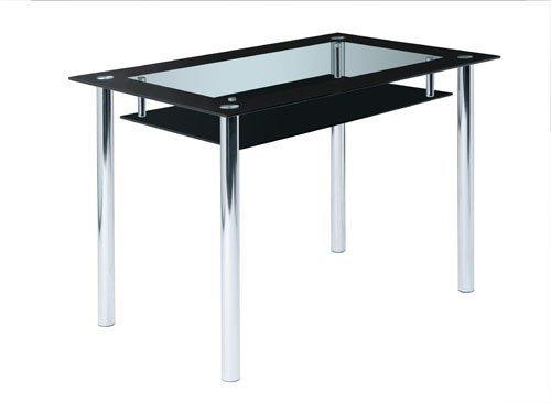 Glastisch, Tisch, Esstisch, Esszimmertisch, Küchentisch, Glasplatten, Ablage, schwarz, Klarglas, Chrom, 110 x 70 cm