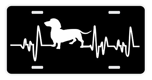 ThisWear Dachshund License Plate Dog Lover Heartbeat Weiner Dog Dachshund Accessories Dachshund Lovers Gifts Dachshund Mom Dachshund Dad Rescue Dachshund Novelty License Plate Black