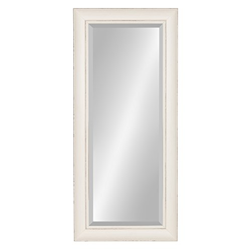 Kate and Laurel Macon Framed Wall Panel Beveled Mirror, 16x36, Distressed Soft White