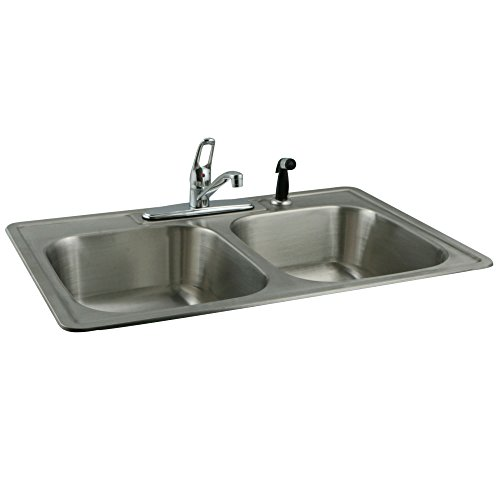 Rimming Self Hole Bowl Double (Kingston Brass KZ33227K562 Self-Rimming Double Bowl Kitchen Sink Combo with Faucet and Strainer, 33