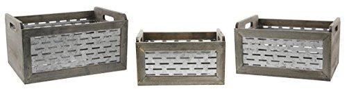 Lucky Winner Set of 3 Galvanized Metal & Wood Crates 12