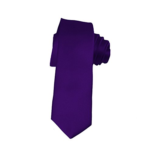 Skinny Dark Purple Tie 2 Inch Solid Mens Tie Satin by K. (Purple Skinny Tie)
