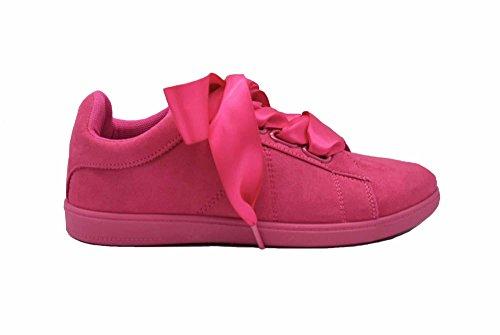 avec Fuchsia Daim Effet Tennis SHY55 Sneakers Semelle Ruban Satin Unie Baskets Surpiqûres et 4wIXxUqxYn