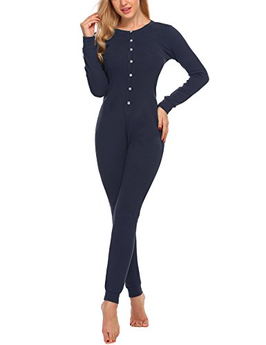 Hotouch Womens Long Sleeve Union Suit Thermal Underwear One Piece Navy Blue XXL