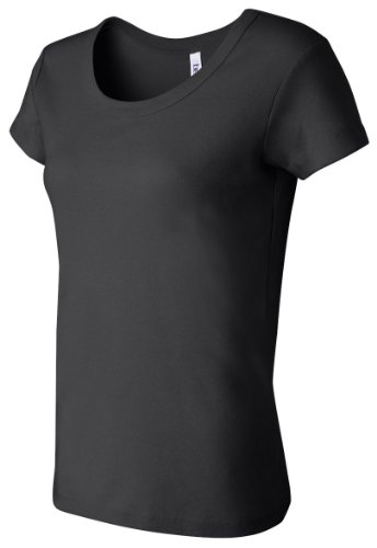 Bella+Canvas Ladies' Baby Rib Short-Sleeve Scoop-Neck Tee - Black - L