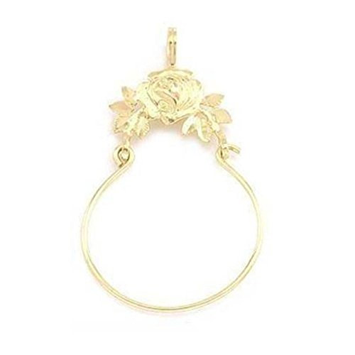 14K Gold Rose Charm Holder Flower Floral Jewelry 36mm 14k Yellow Gold Rose Charm