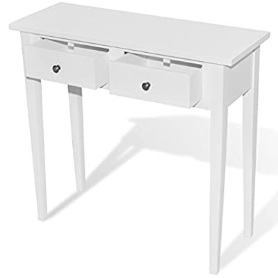 Anself White Mirrored Console Table with Two Drawers - Our console table, featuring a simple yet timeless design, will surely make a great addition to your living room, dining room, hallway, and more. The table features excellent workmanship combined with great functionality. Thanks to its compact design, our console table occupies very little space and fits into smaller areas. - living-room-furniture, living-room, console-tables - 31ffEl1n50L. SS400  -