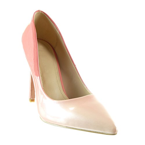 Angkorly Damen Schuhe Pumpe - Stiletto - Dekollete - Farbgradienten Stiletto High Heel 10 cm Rosa
