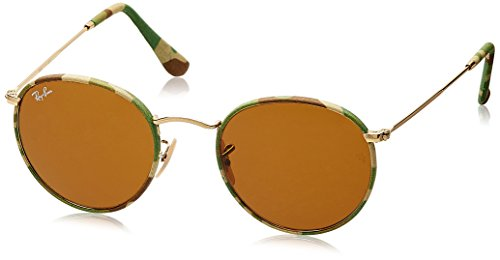 Ray-Ban ROUND METAL (M) - CAMOUFLAGE GREEN/BEIGE Frame BROWN Lenses 50mm - Ban Ray Authentic Sunglasses Buy