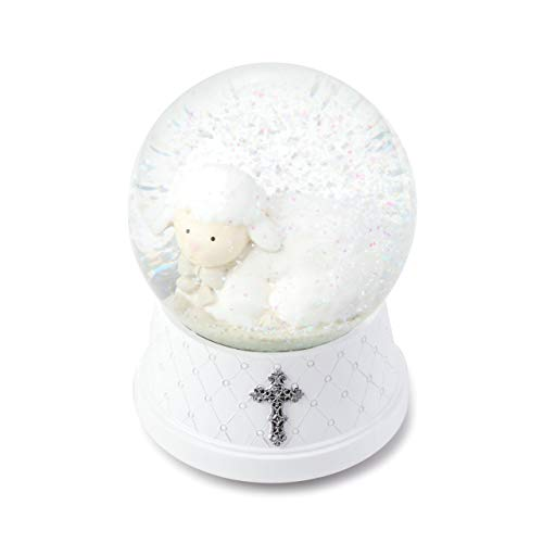 Water Baptismal - DEMDACO Jesus Loves Me White Silver Toned 6 x 4 Resin Stone Musical Water Snow Globe
