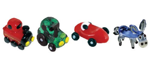 Looking Glass Miniature Collectible - Train/Tractor/Racecar/Donkey (4-Pack)