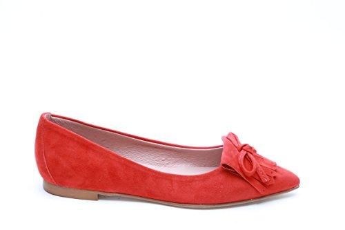 Scarpe italiane ballerine con frange rosso