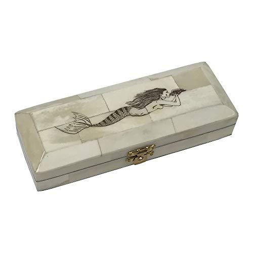 Schooner Bay Co. Mermaid Black Etched Vintage Scrimshaw Ox Bone Postage Stamp Box Antique Reproduction, 6-1/2