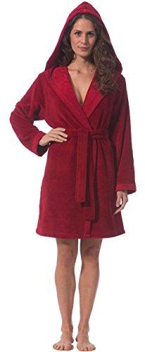 Morgenstern, Damen Kurzbademantel mit Kapuze, 90 cm lang, Größe XS, Farbe kirschrot ( rot ), Softvelour