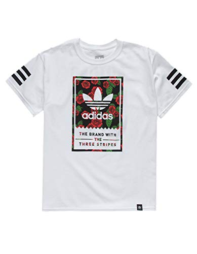 adidas Classic Print Rose Boys T-Shirt, White, Medium