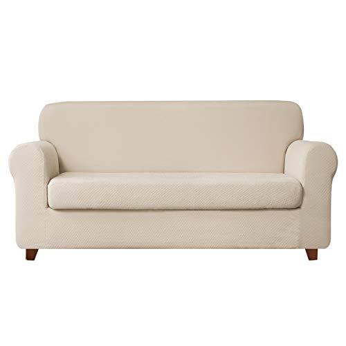 - TOYABR 2-PieceSeersucker JacquardStretchyFabricDinning Room SofaSlipcoversFittedSofaProtector (Loveseat, Cream Ivory)