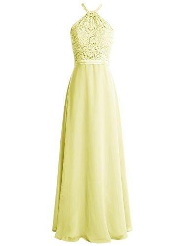 Bbonlinedress Vestido De Fiesta Mujer Largo Halter Encaje Gasa Espalda Descubierta Amarillo