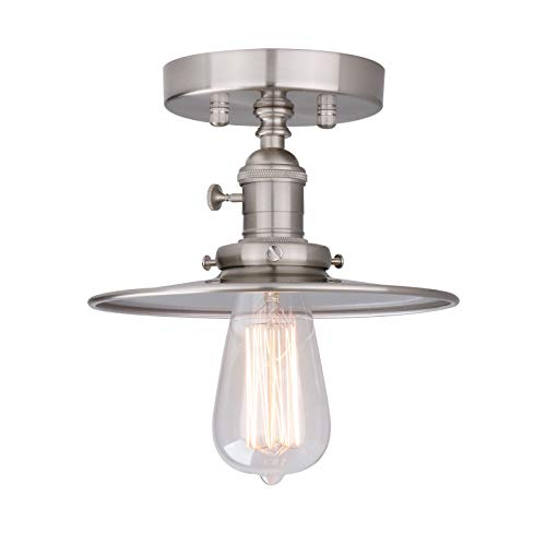 Phansthy Flushmount Ceiling Light 1-Light Brushed Nickel Finished Factory Fitting Ceiling Light with Switch and 7.87 Inches Flat Canopy (Brushed)