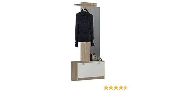 Abitti Recibidor vestidor con Zapatero abatible Color Roble y Blanco con Espejo. para Entrada, Pasillo o Dormitorio. 190x97cm