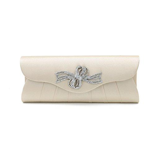 Clutch Rhinestones Beige Colors Evening Elegant Flap Flower Bag Ribbon Satin Diff EqXXpRwH