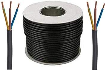 15 Amp 3 Core Flexible Black Cable 3 Meters of Black Flex 3183Y 1.5mm