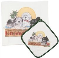 Havanese in Havana Dish Towel & Pot Holder Set