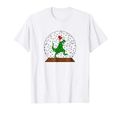 Dino Santa Hat Snow Globe Shirt Funny Christmas Gift