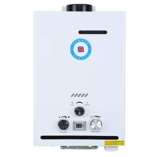 Samger Samger 8L Calentador de Agua sin Tanque 8L Pantalla Digital 1 5 GPM NG Caldera de Agua instantanea Quemador de Agua Caliente de Gas Natural de Acero Inoxidable