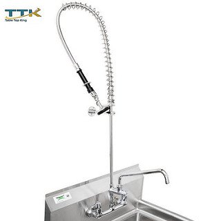 Equip by Tabletop king 5PR-8W12-C Wall Mounted 35 3/4'' High Pre-Rinse Faucet with 8'' Adjustable Centers, Low Flow Spray Valve, 44'' Hose, 12'' Add-On Faucet, and 6'' Wall Bracket