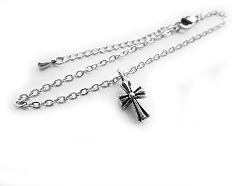 [해외]아메리카 계 백합 십자가 매력 스테인레스 체인 앵 클 리 트 FN179 (28cm (23cm + 5cm 스 터)) / Native Lily Cross Charm Stainless Steel Chain Anklet FN179 (28cm (23cm +5cm Adder)