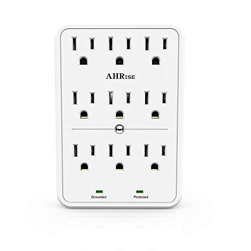 Surge Protector, AHRISE 9-Outlet Extender Wall Plug, 3 Prong Outlets, Power Adapter Splitter with 2100 Joules, Easy Install, White
