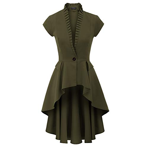 SCARLET DARKNESS Women's Gothic Tailcoat Steampunk Jacket Tuxedo Coat Victorian Costume S Green -