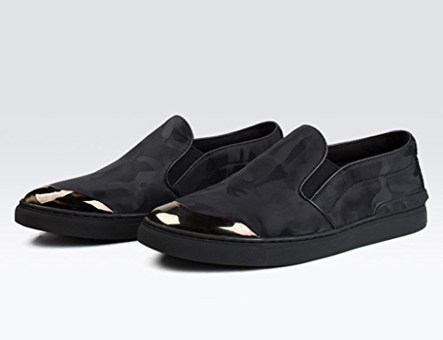 Herren Lederschuhe Herrenschuhe Casual Camouflage Canvas Schuhe atmungsaktiv Herrenschuhe ( Farbe : Weinrot , größe : EU 41/UK7 ) Schwarz