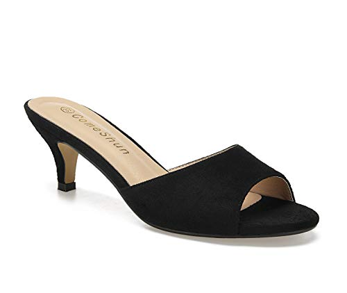 ComeShun Women Low Kitten Heel Mules Slip On Sandals Open Peep Toe Dress Pumps Comfy Sexy Shoes Black Size 10
