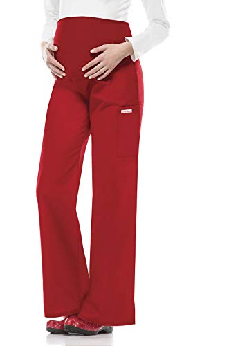 Cherokee Women's Maternity Elastic Waist Scrubs Pant, Red, Small (Best Trousers For Pear Shaped)