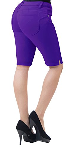 (Super Comfy Stretch Bermuda Shorts B43308 Purple 11)