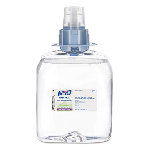 PURELL FMX-12 Advanced Green Certified Hand Sanitizer Foam, Fragrance Free, 1200 mL EcoLogo Certified Sanitizer Refill for PURELL FMX-12 Touch-Free Dispenser (Case of 3) – 5191-03