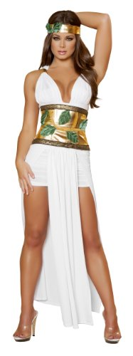 Sexy Goddess Costumes (Roma Costume 4 Piece Divine Goddess Costume, White/Gold, Small/Medium)